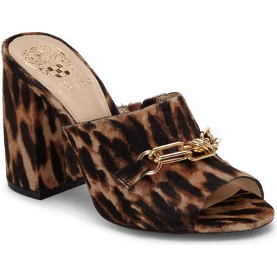 Vince Camuto Leopard Print Genuine Calf Hair Slide Sandal, Brown