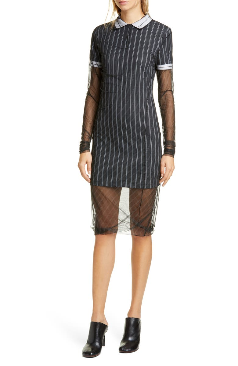 Y/PROJECT Long Sleeve Tulle Overlay Polo Dress, Main, color, BLACK