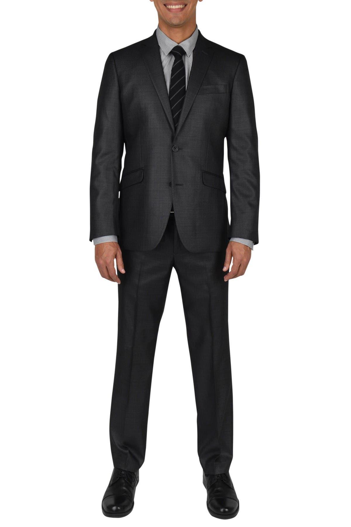 Image of Kenneth Cole Reaction Gunmetal Basketweave Two Button Notch Lapel Slim Fit Suit