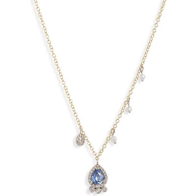 Meira T Sapphire, Pearl & Diamond Pave Charm Necklace
