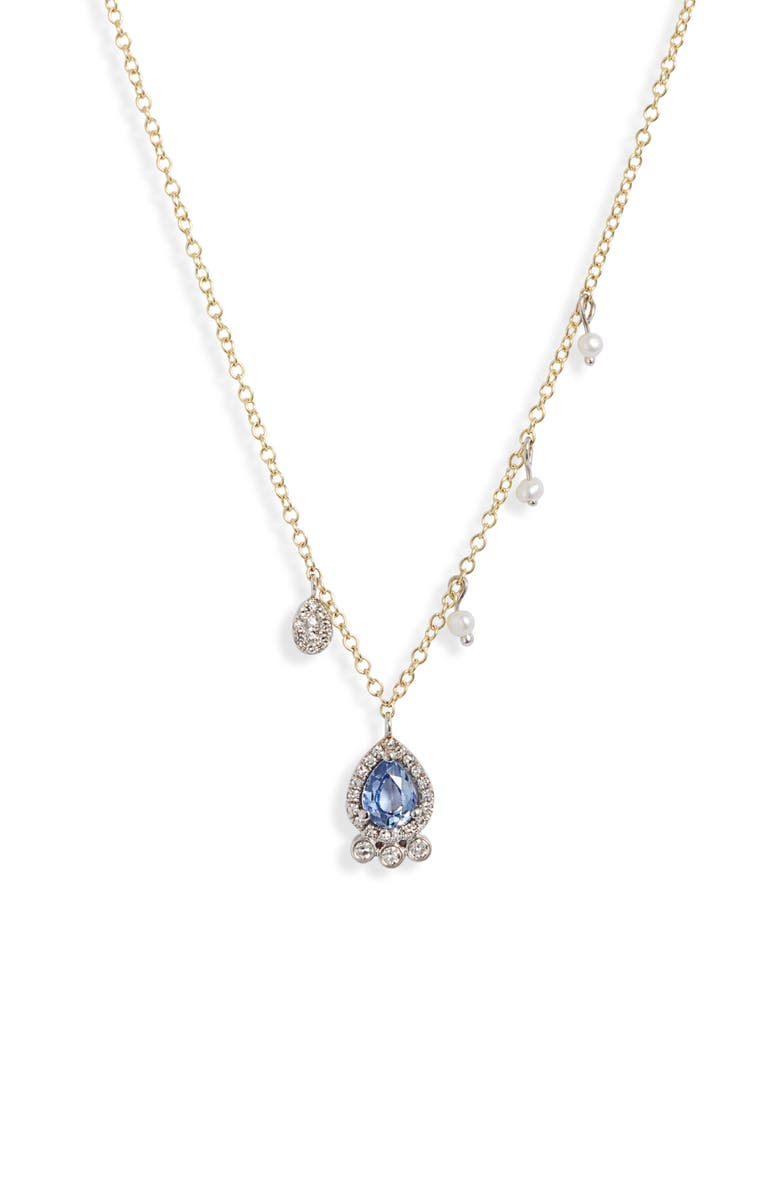 MEIRA T Sapphire, Pearl & Diamond Pavé Charm Necklace, Main, color, YELLOW GOLD
