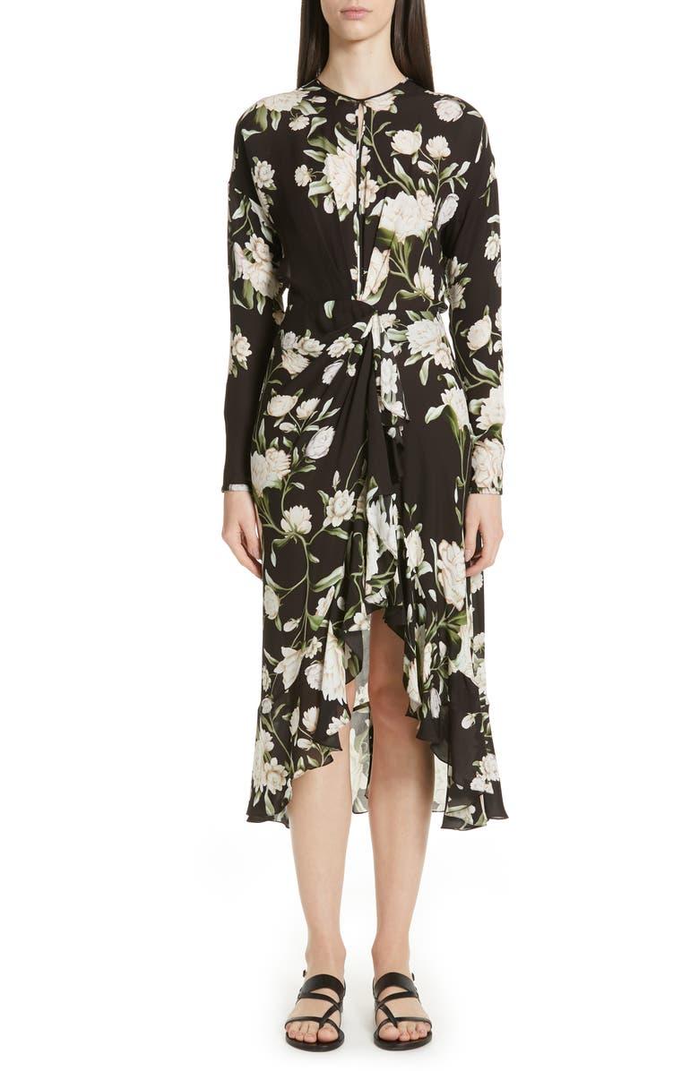 JOHANNA ORTIZ Melodias Salvajes Front Slit Floral Print Silk Dress, Main, color, 001