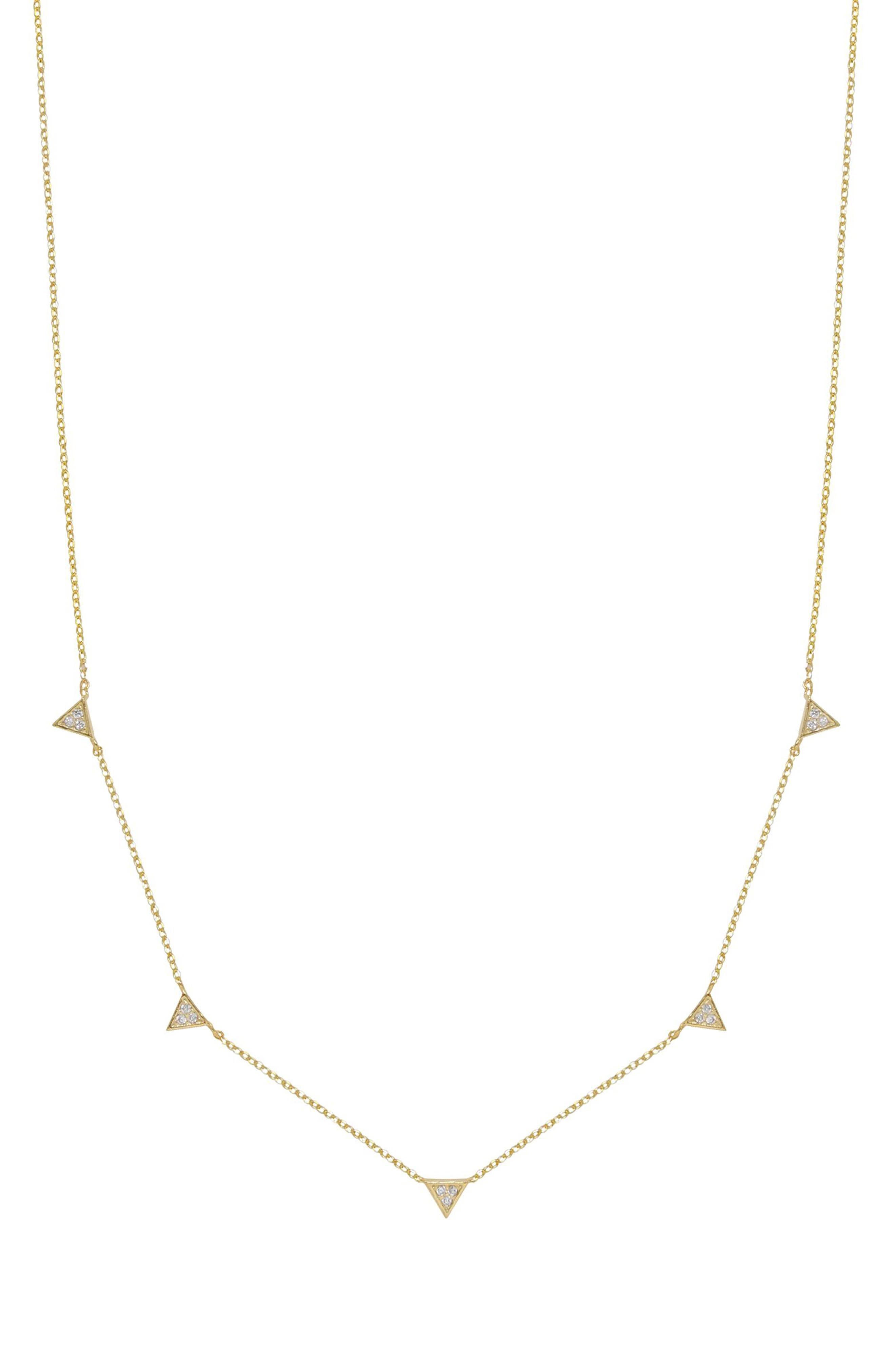 Crystal Triangle Station Necklace