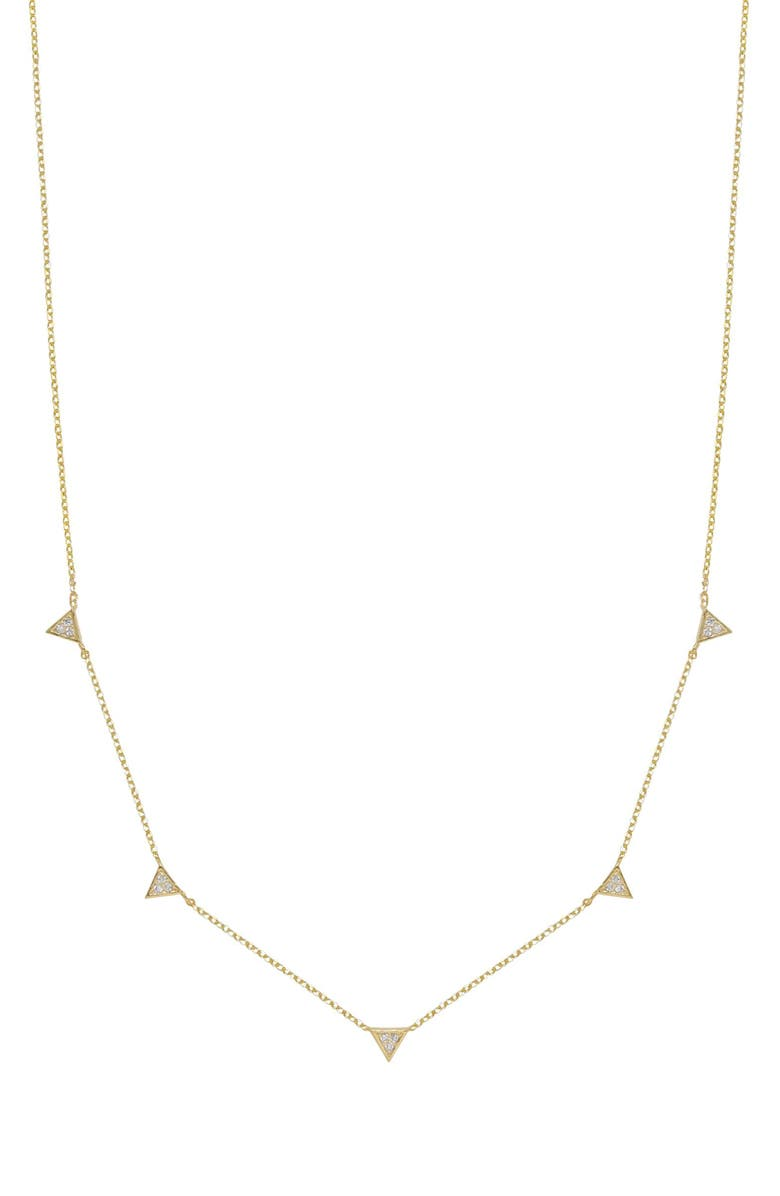 ETTIKA Crystal Triangle Station Necklace, Main, color, GOLD