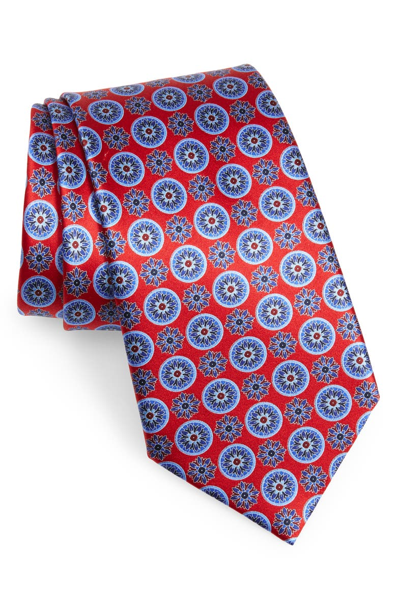 ERMENEGILDO ZEGNA Floral Medallion Silk Tie, Main, color, RED