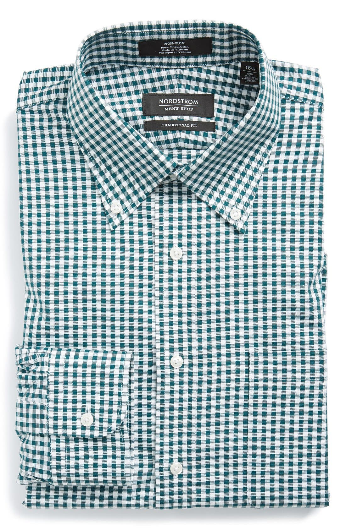 ,                             Traditional Fit Non-Iron Gingham Dress Shirt,                             Main thumbnail 47, color,                             310