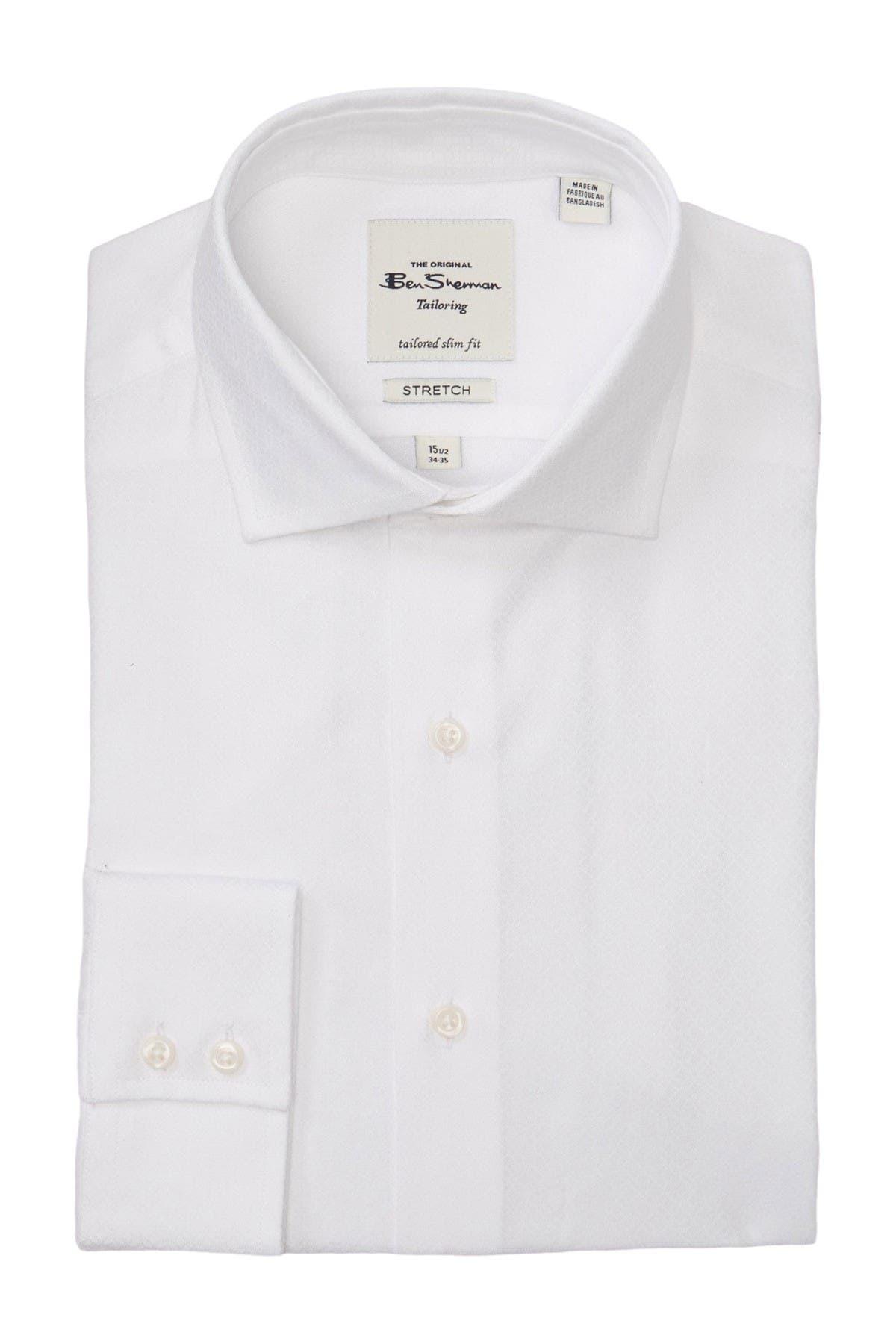 Image of Ben Sherman White On White Floral Geo Print Dobby Slim Fit Shirt