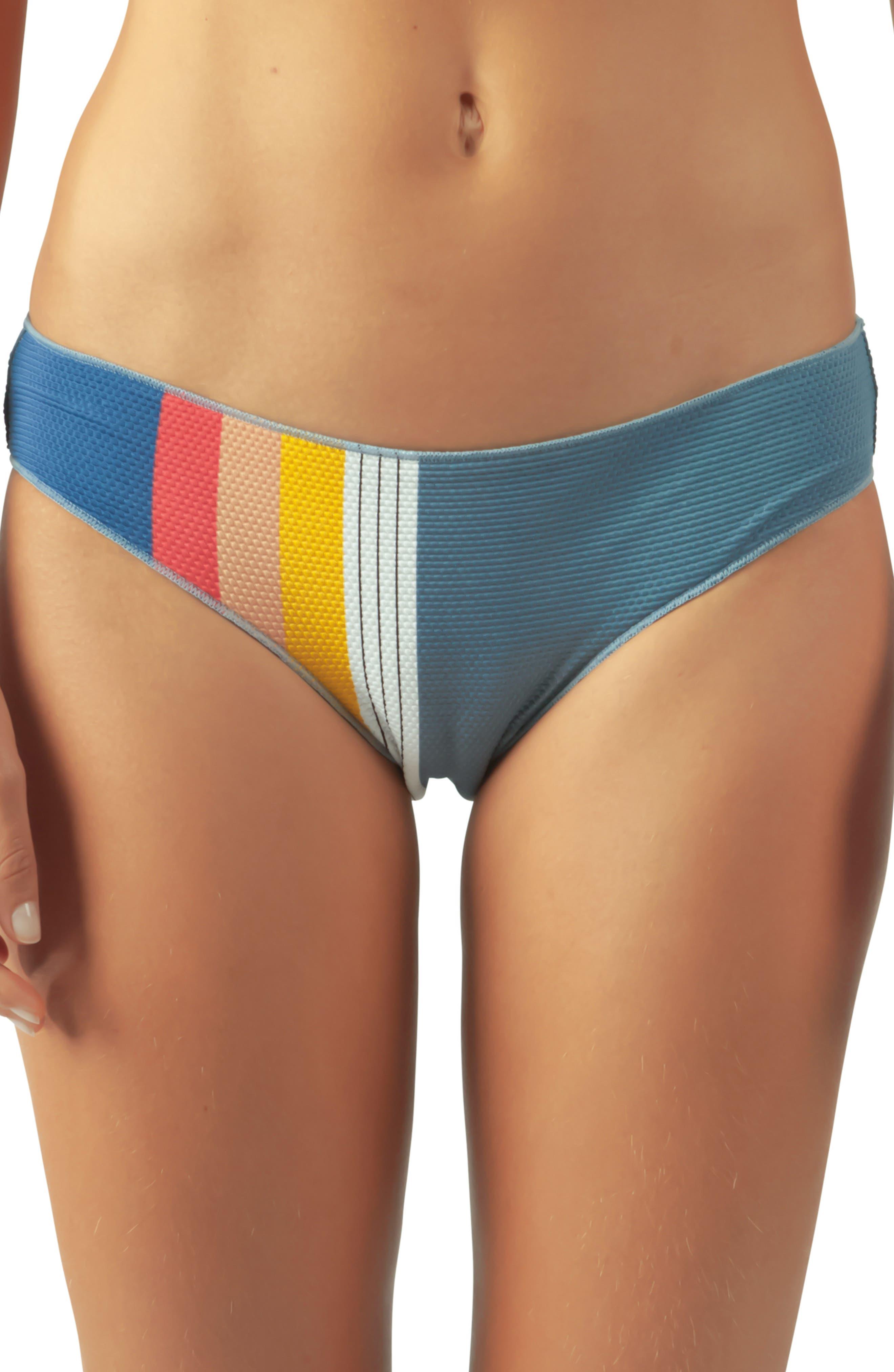 Rip Curl Beach Street Stripe Hipster Bikini Bottoms, Blue
