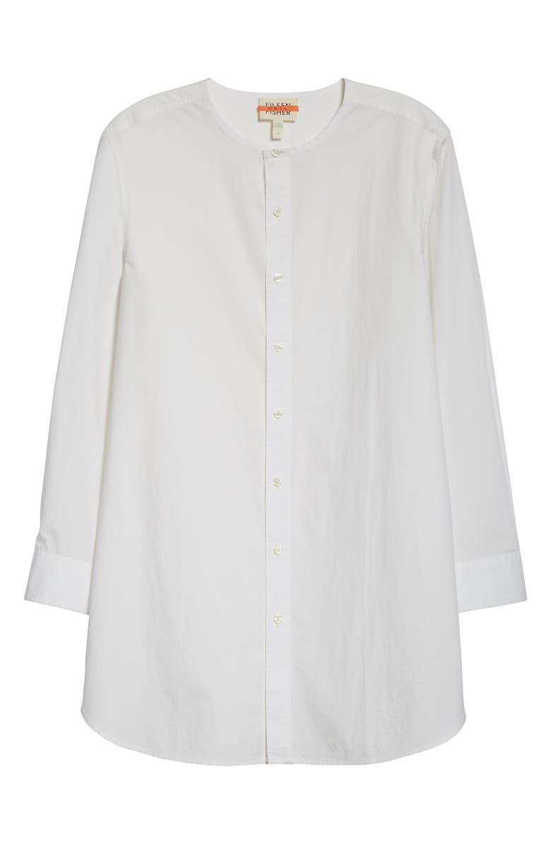 EILEEN FISHER Long Organic Cotton Poplin Shirt, Main, color, WHITE