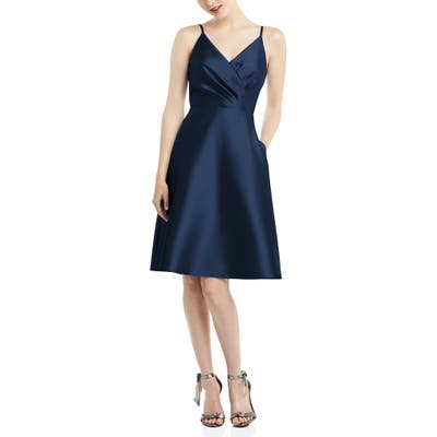 Alfred Sung Fit & Flare Satin Twill Cocktail Dress, Blue