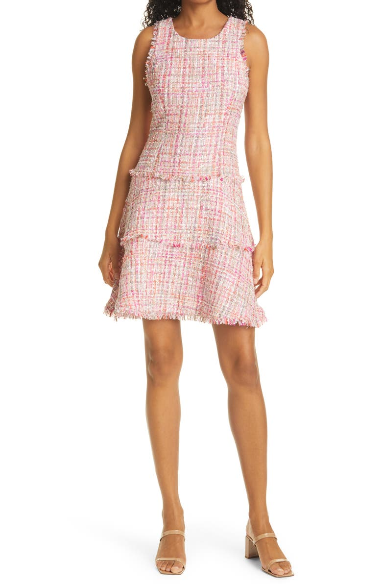 LIKELY Tweed Tiered Minidress, Main, color, PINK/ IVORY MULTI