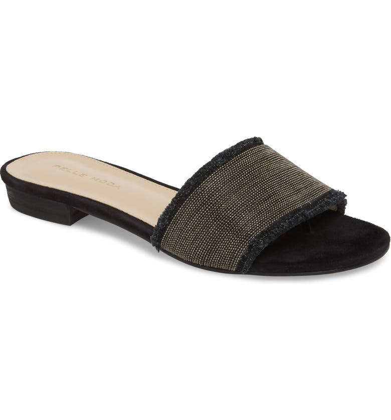 PELLE MODA Bayer Embellished Slide Sandal, Main, color, BLACK FABRIC
