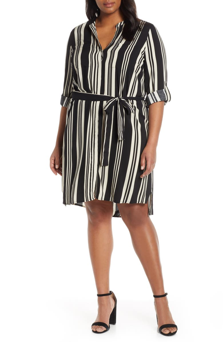 ESTELLE Marnie Stripe Long Sleeve Shirtdress, Main, color, BLACK/ MILK STRIPE