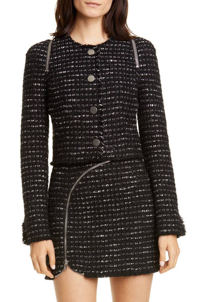 ALEXANDER WANG Zipper Detail Tweed Crop Jacket, Main, color, BLACK/ WHITE