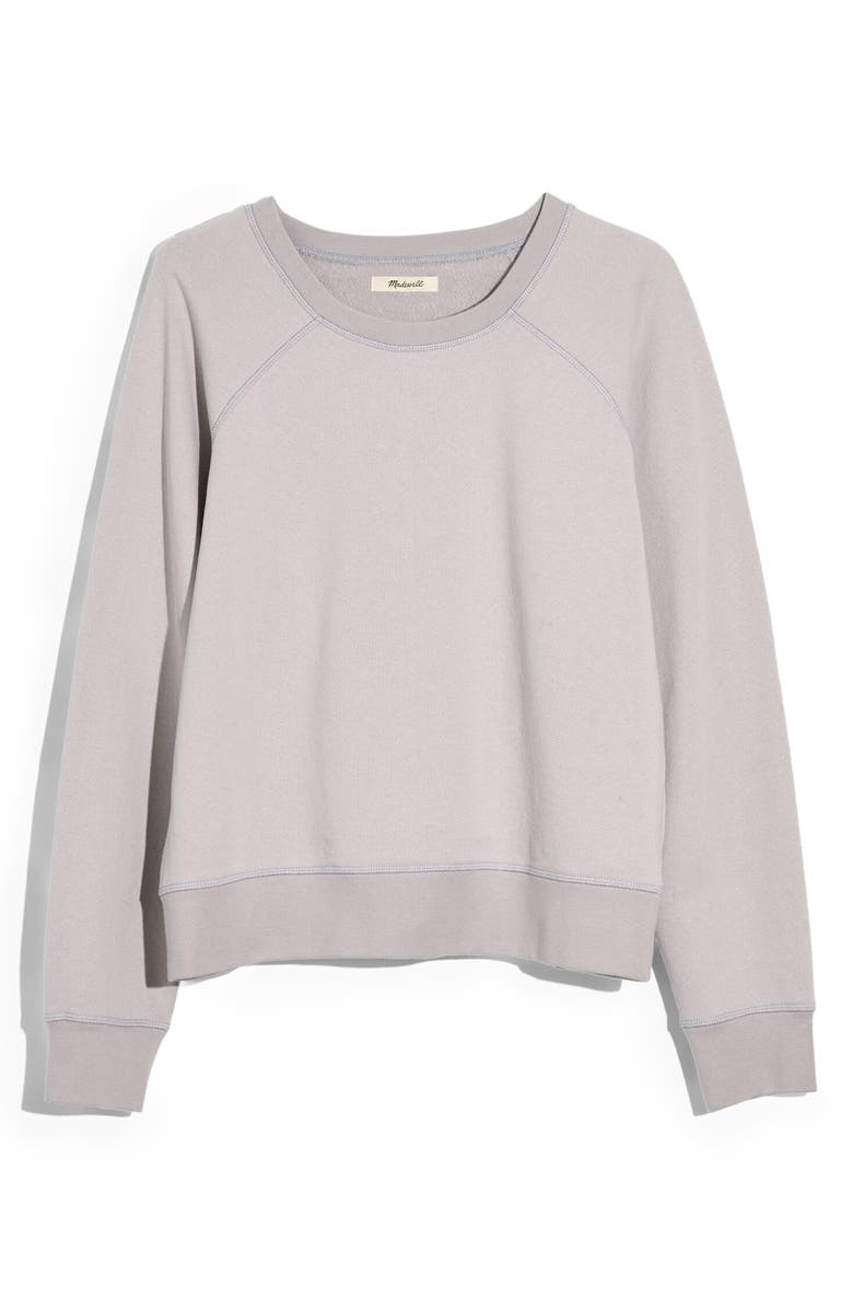 MADEWELL Shrunken Recycled Cotton Sweatshirt, Main, color, COOL FOG