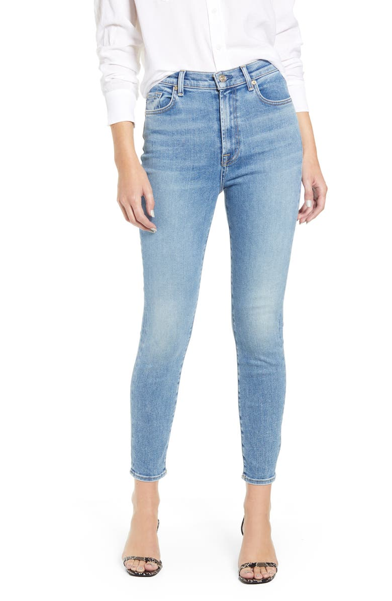 7 FOR ALL MANKIND<SUP>®</SUP> High Waist Ankle Skinny Jeans, Main, color, LUXE VINTAGE BEAU BLUE