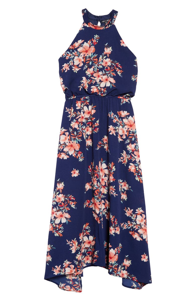 AVA & YELLY Floral Print Chiffon Maxi Dress, Main, color, NAVY/CORAL