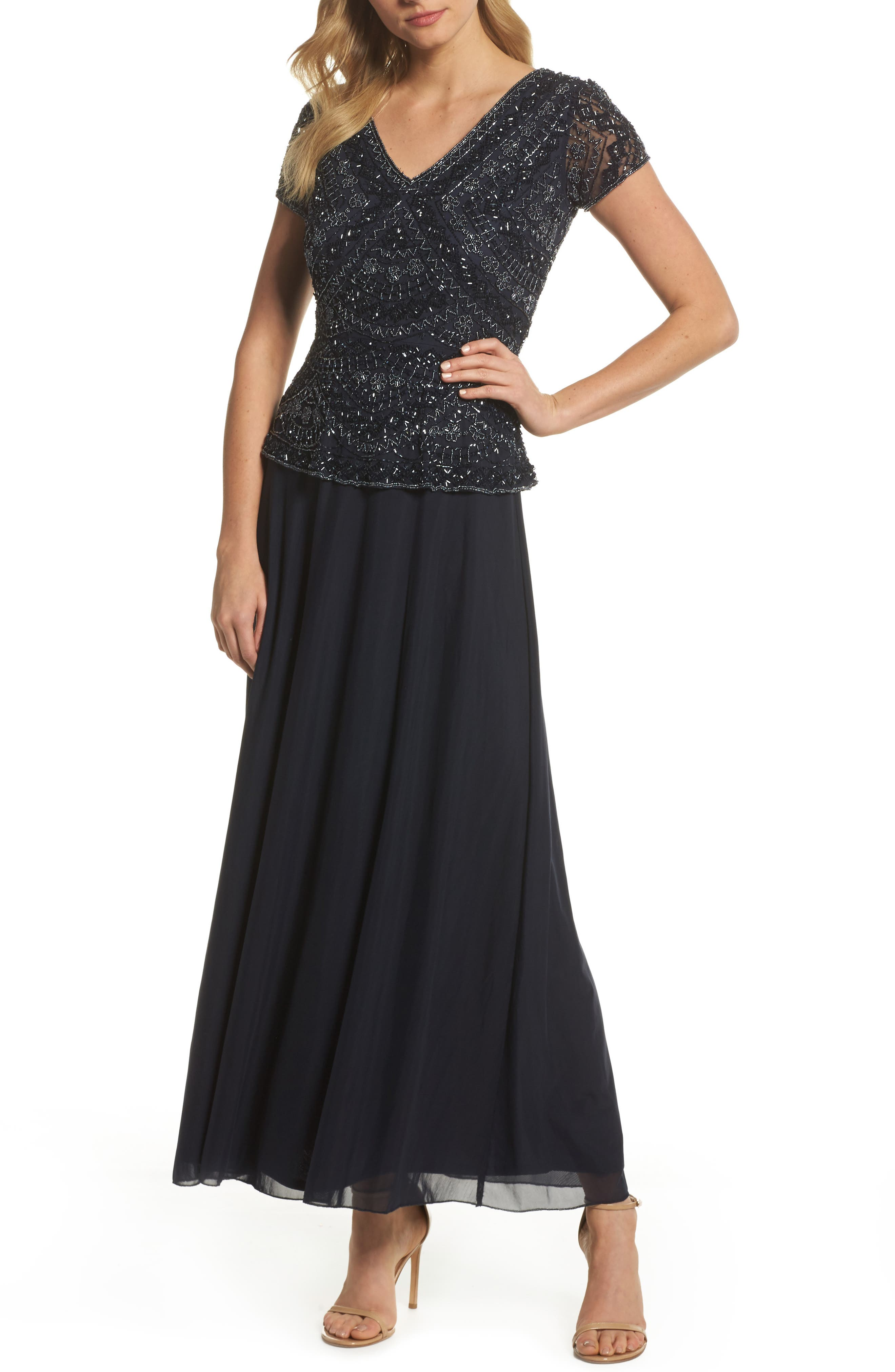 Beaded V-Neck Mock Two-Piece Gown, Main, color, NAVY