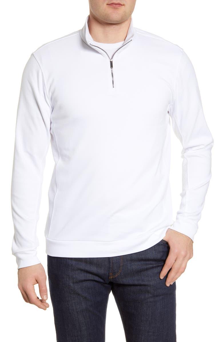 BUGATCHI Cotton Half-Zip Pullover, Main, color, WHITE