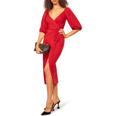 Reformation Calabra Wrap Dress, Red