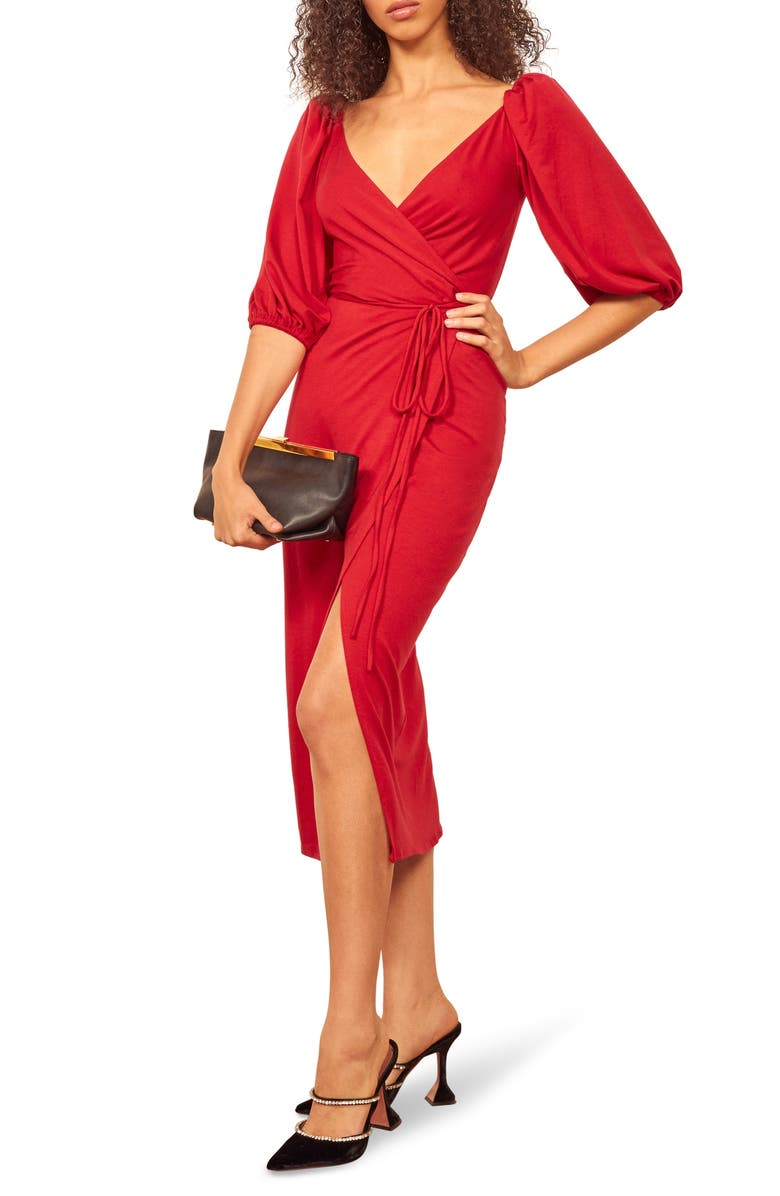REFORMATION Calabra Wrap Dress, Main, color, CHERRY