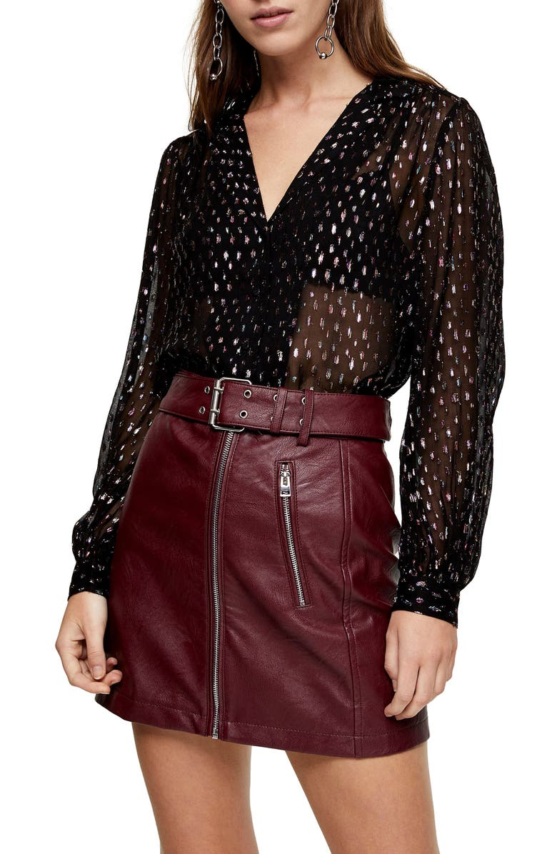 TOPSHOP Colorful Metallic Blouse, Main, color, BLACK MULTI