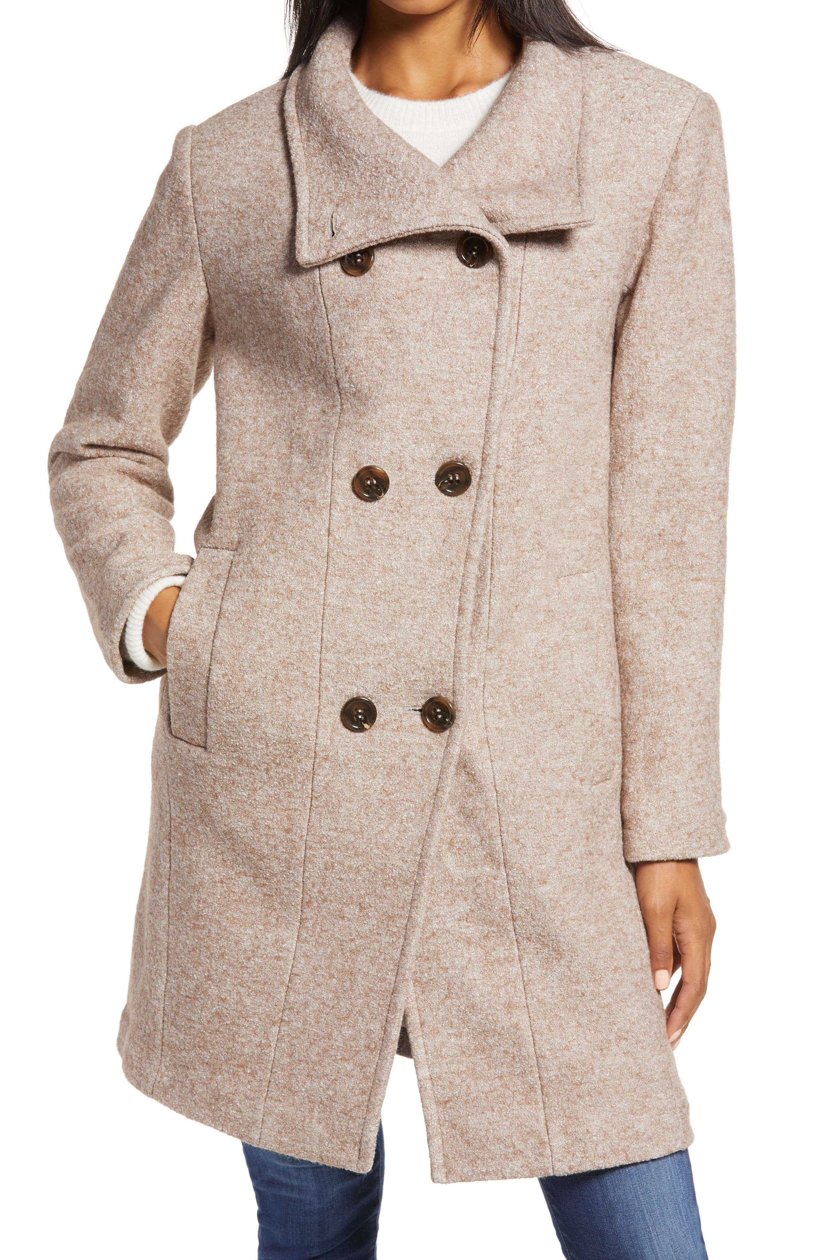 Image of Ellen Tracy Double Breasted Wool Blend Coat