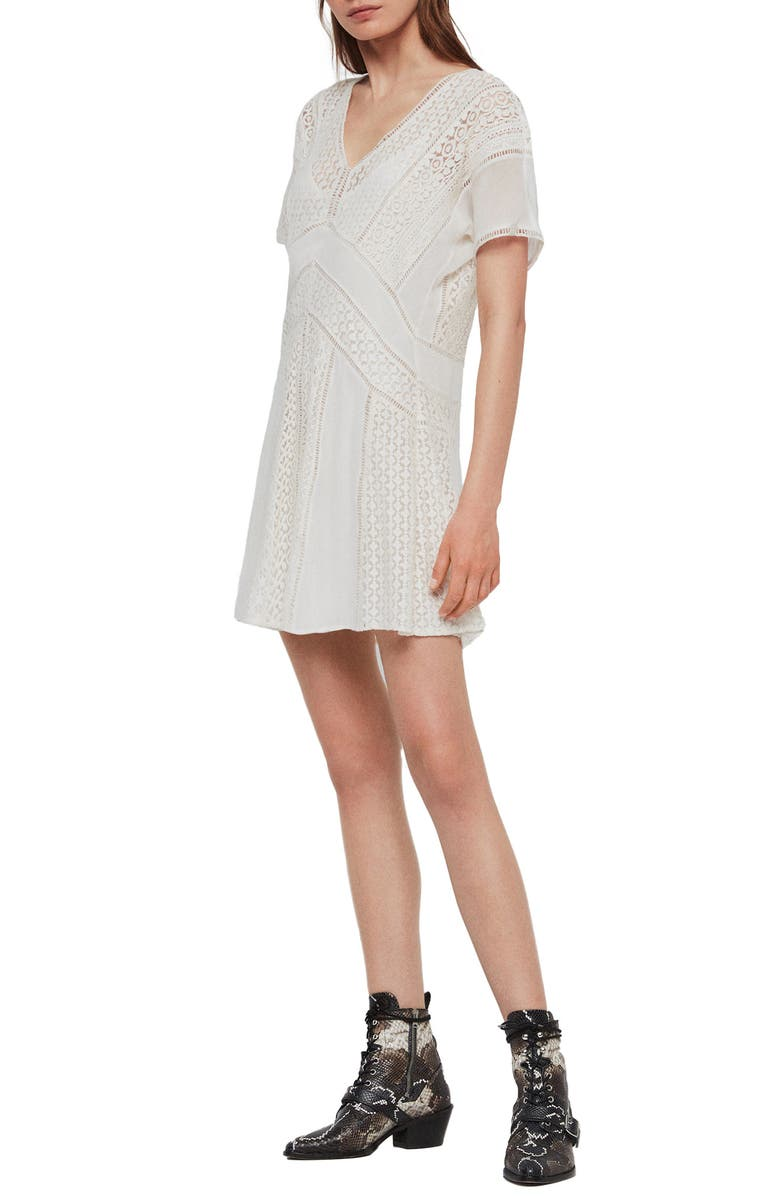 ALLSAINTS Cindi Lace Minidress, Main, color, OYSTER WHITE