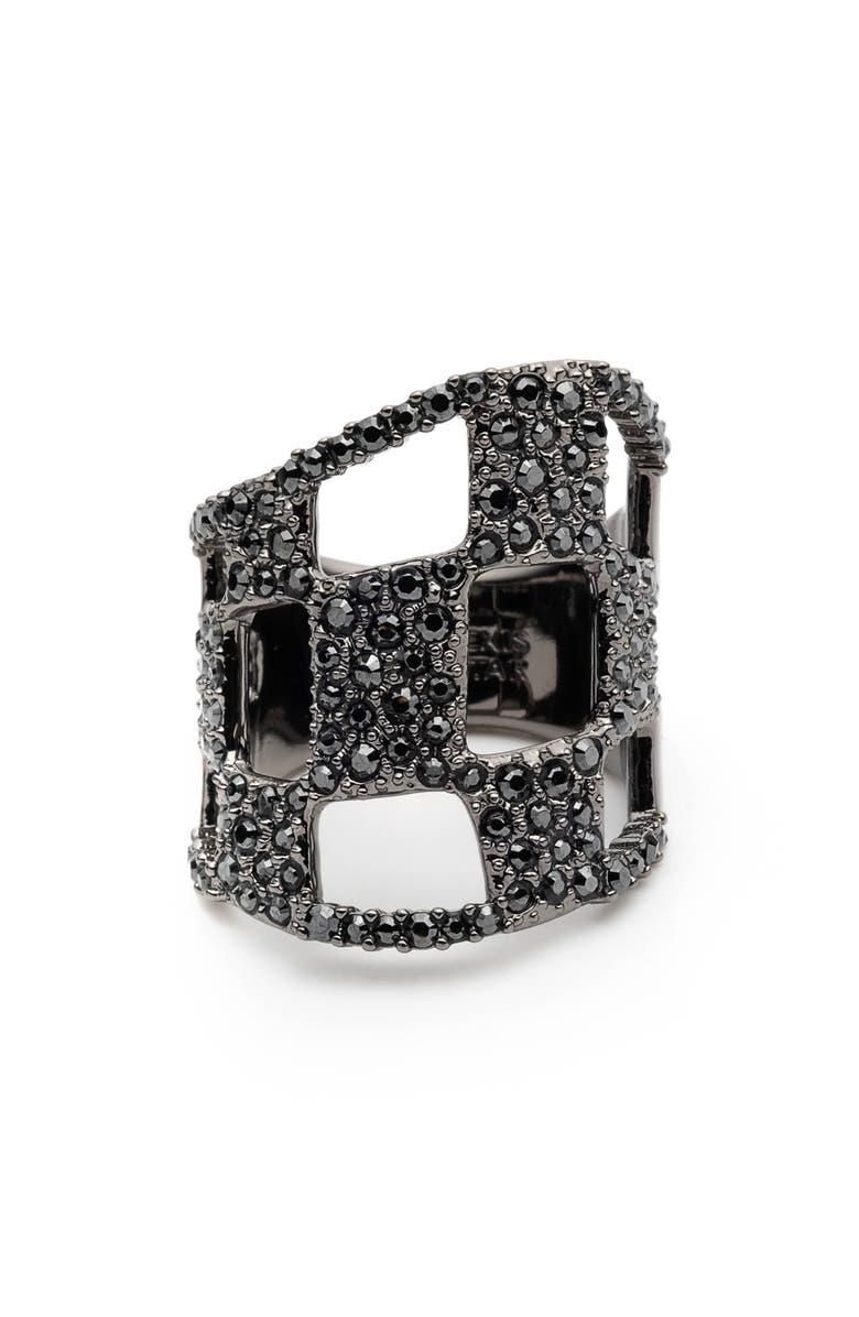 ALEXIS BITTAR Floral Noir Pavé Checkerboard Ring, Main, color, 001