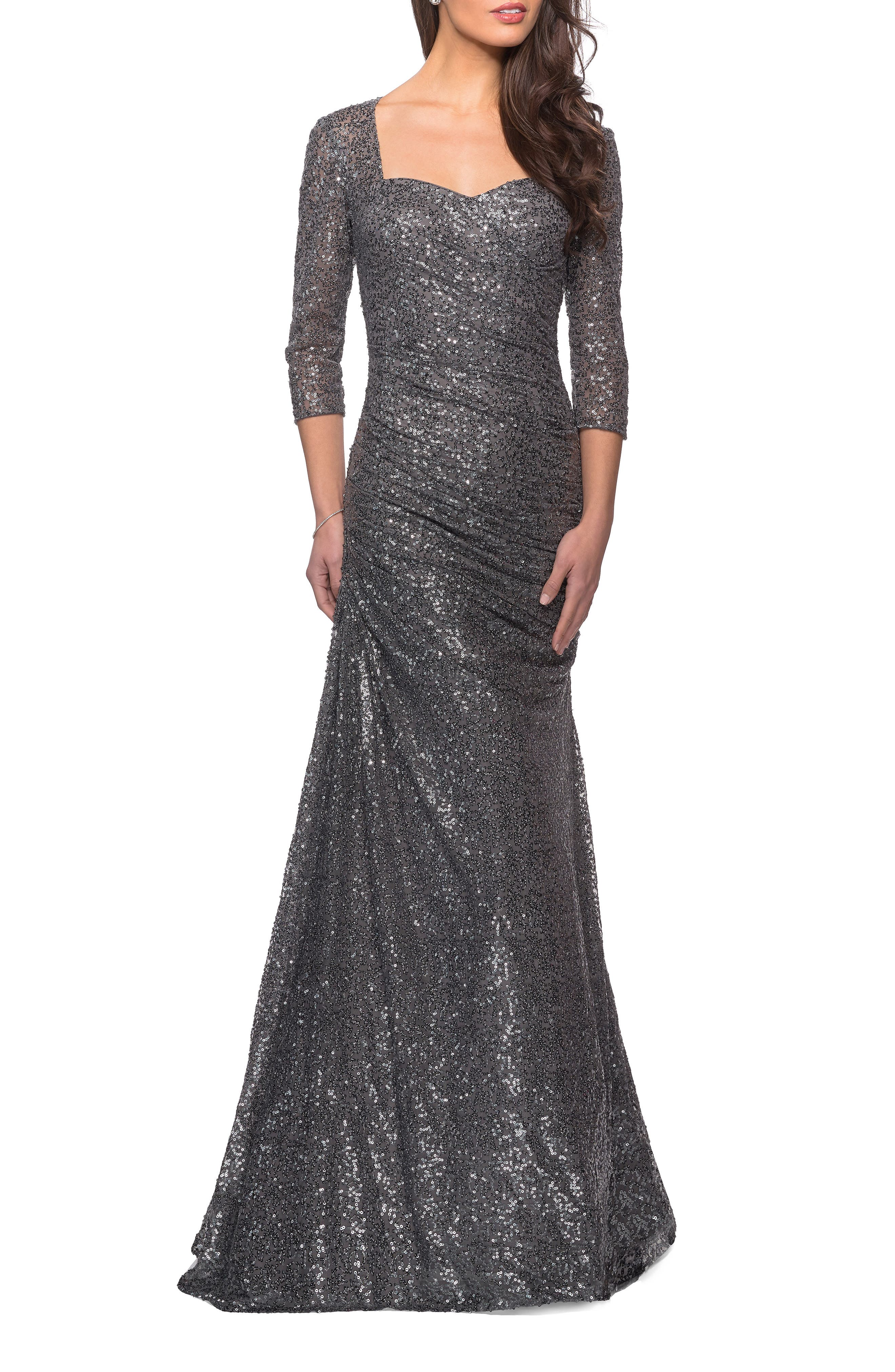 1980s Clothing, Fashion | 80s Style Clothes Womens La Femme Ruched Sequin Trumpet Gown $438.00 AT vintagedancer.com