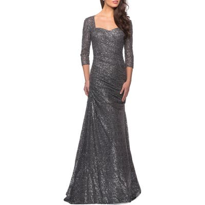 La Femme Ruched Sequin Mermaid Gown, Grey