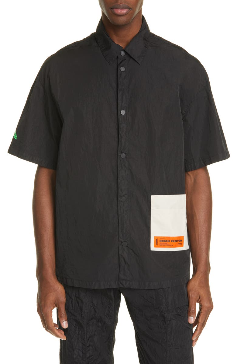 HERON PRESTON Patch Pocket Short Sleeve Nylon Shirt, Main, color, BLACK GREEN