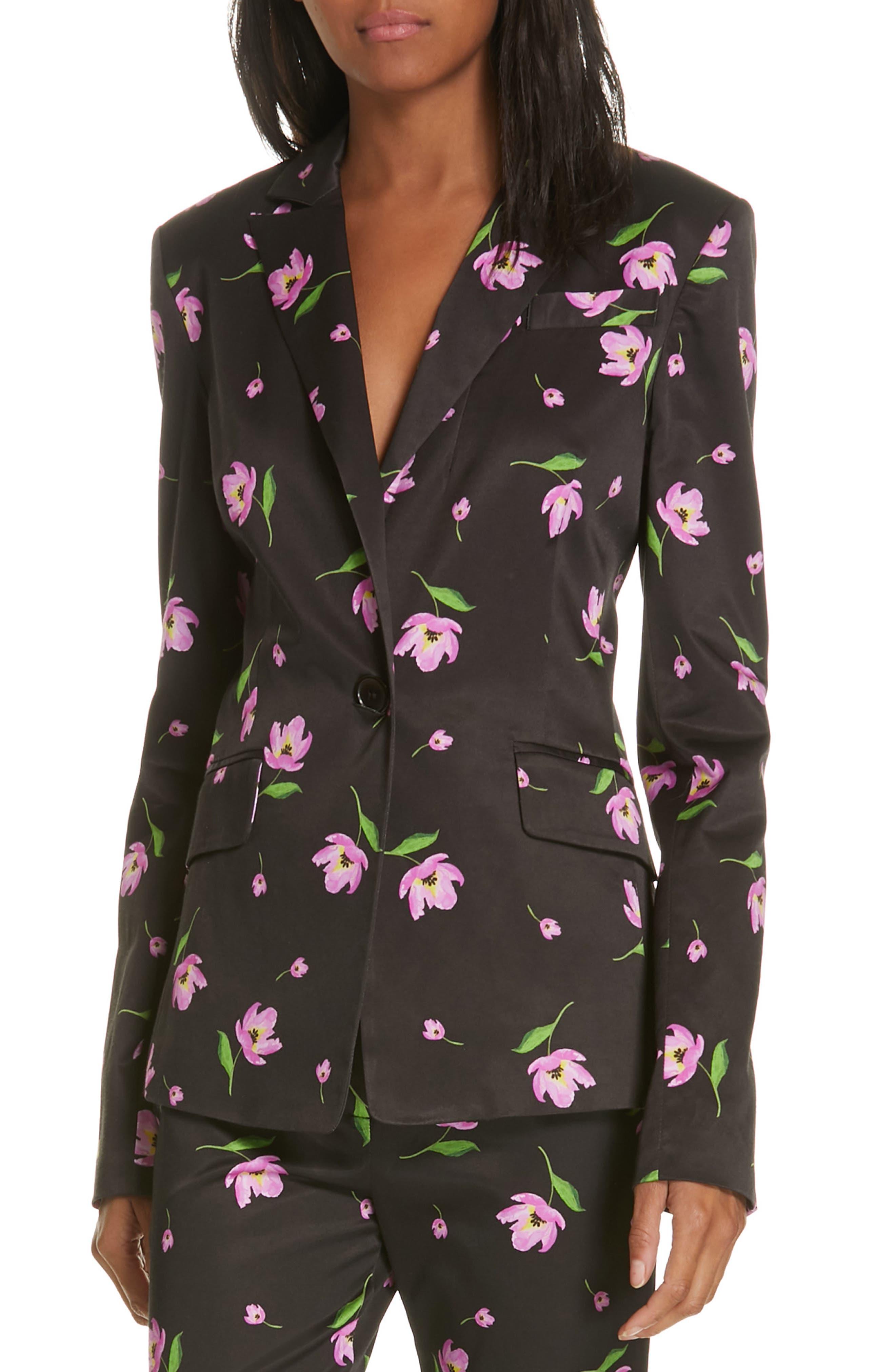Floral Stretch Blazer, Main, color, BLACK/ PINK