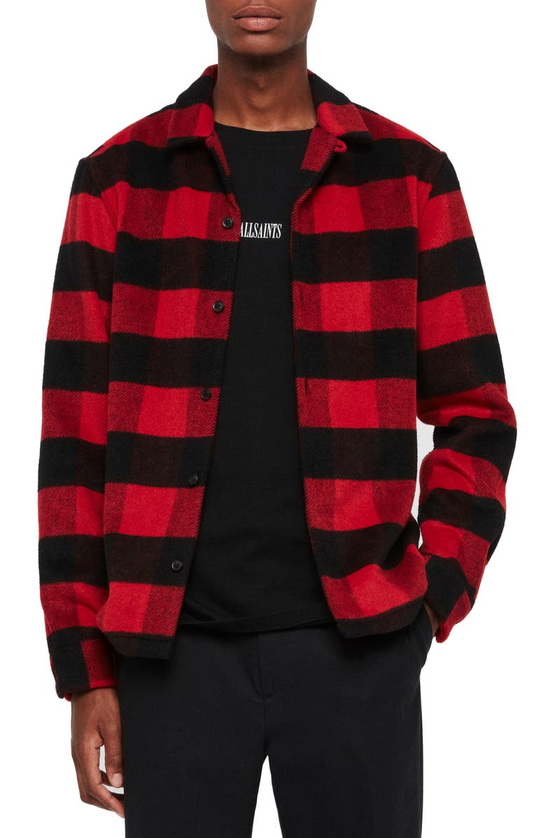 ALLSAINTS Drytown Regular Fit Plaid Button-Up Flannel Overshirt, Main, color, RED/ BLACK