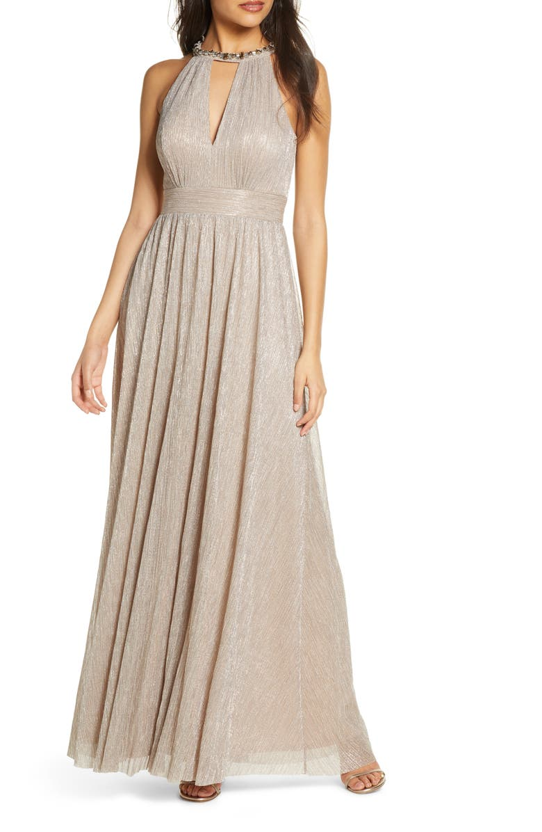 ELIZA J Embelished Halter Metallic Knit Gown, Main, color, BRONZE
