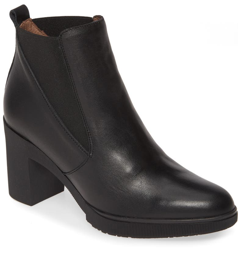 WONDERS M-3706 Bootie, Main, color, BLACK SMOOTH LEATHER