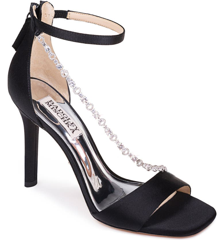 BADGLEY MISCHKA COLLECTION Badgley Mischka Erika Crystal Cross Strap Sandal, Main, color, BLACK SATIN