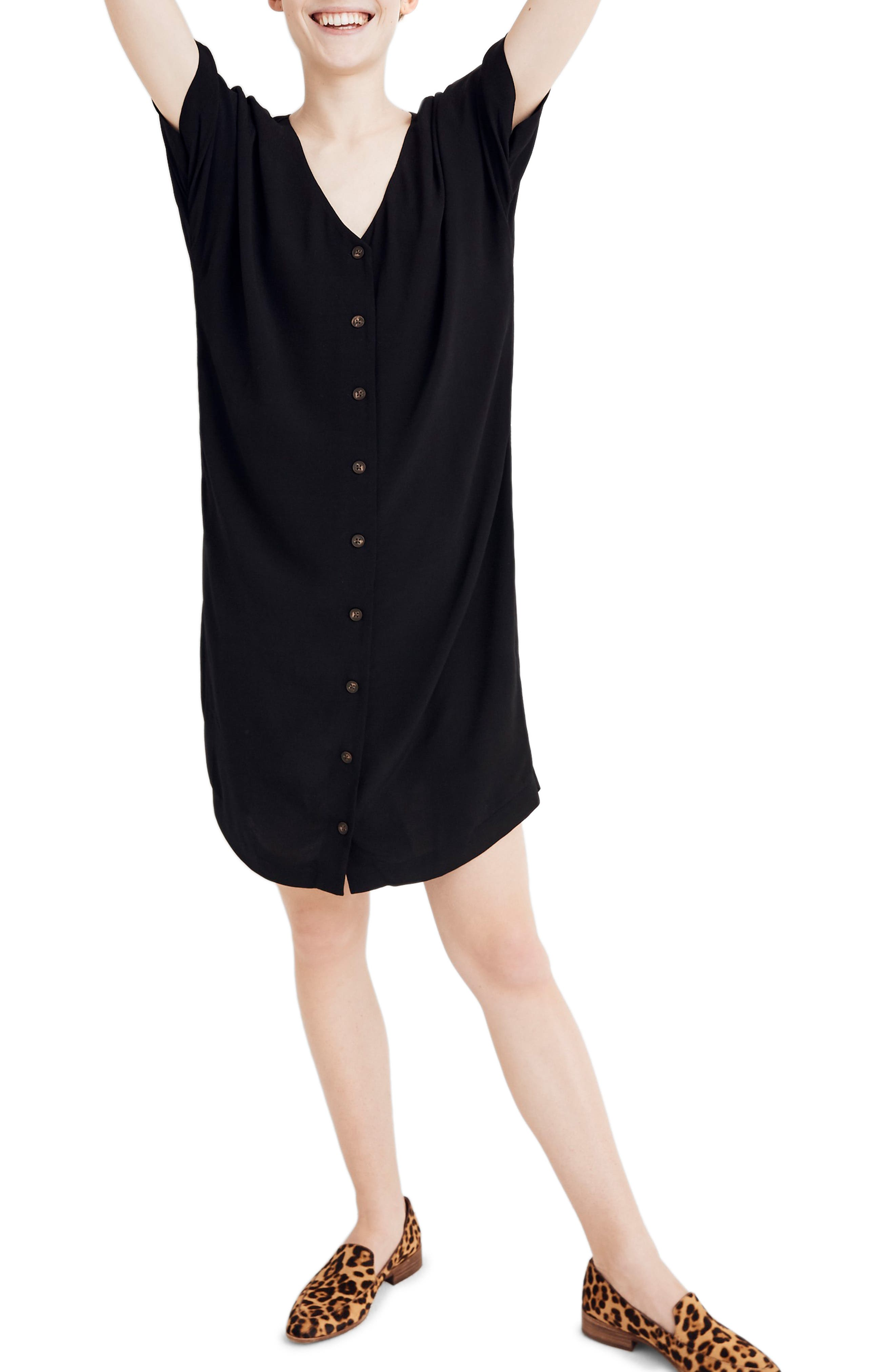 Madewell Button Front Easy Dress, Black