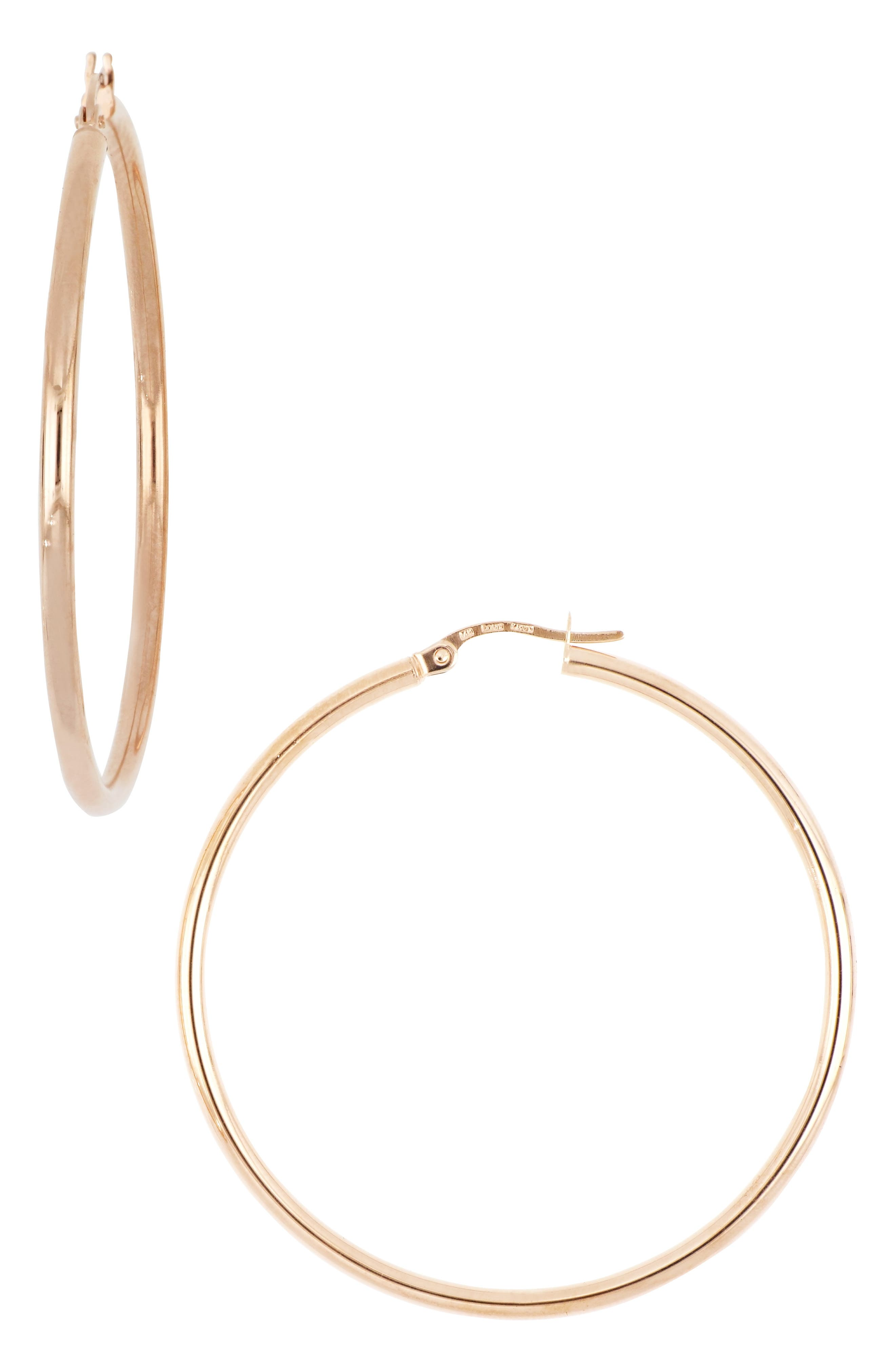 Simple and timeless, wardrobe-essential hoops with the warm and rich gleam of 14-karat gold are handcrafted in Italy. Style Name: Bony Levy 14K Gold Hoop Earrings, 45mm (Nordstrom Exclusive). Style Number: 5820854. Available in stores.