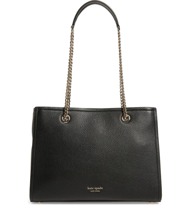 KATE SPADE NEW YORK large amelia pebble leather tote, Main, color, BLACK