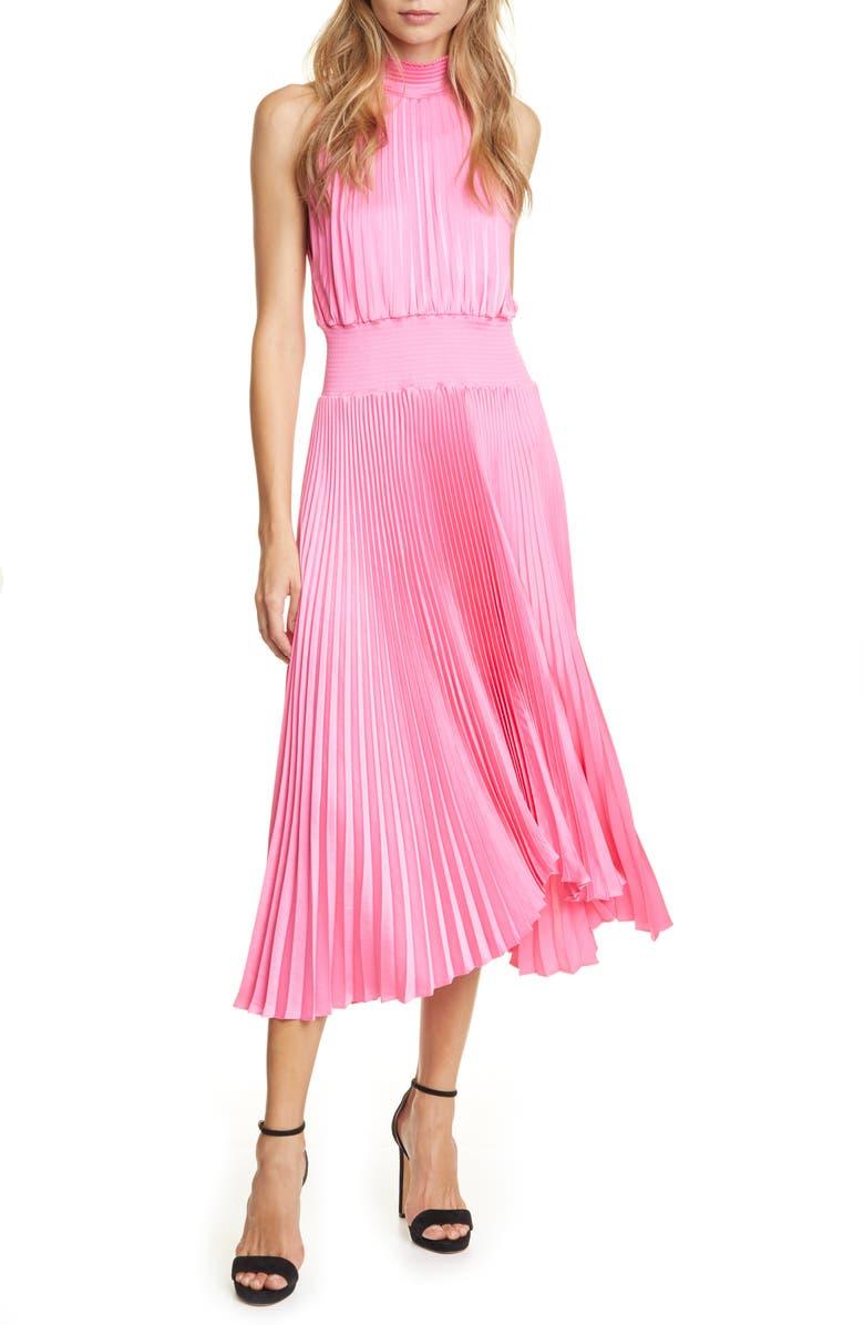 A.L.C. Renzo Pleated Sleeveless Midi Dress, Main, color, GRAPEFRUIT