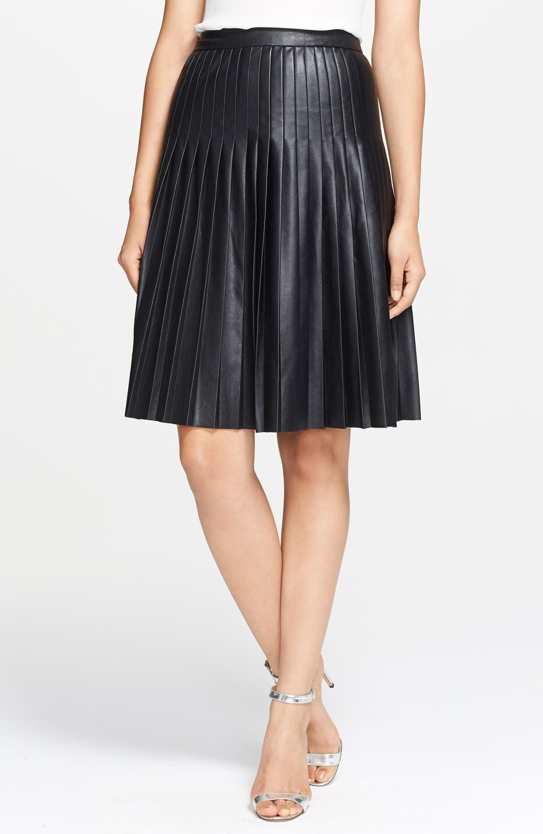 ,                             Pleated Leather Skirt,                             Main thumbnail 1, color,                             001