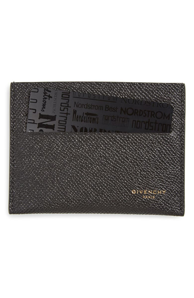 GIVENCHY Textured Leather Card Case, Main, color, BLACK