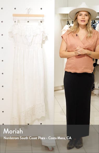 Embroidered Off the Shoulder Midi Dress, sales video thumbnail