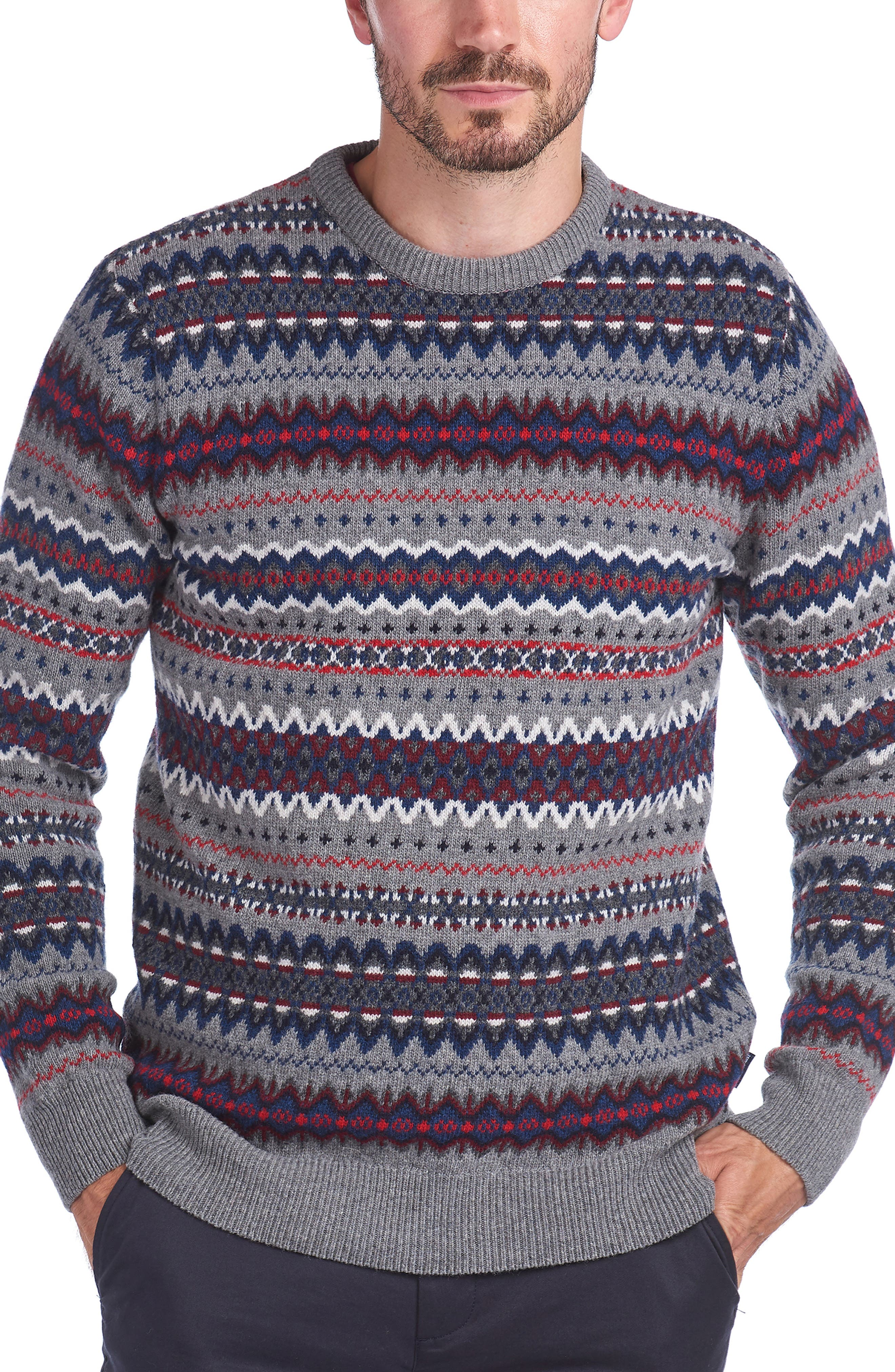Men's Vintage Sweaters History Mens Barbour Case Fair Isle Wool Crewneck Sweater $125.00 AT vintagedancer.com