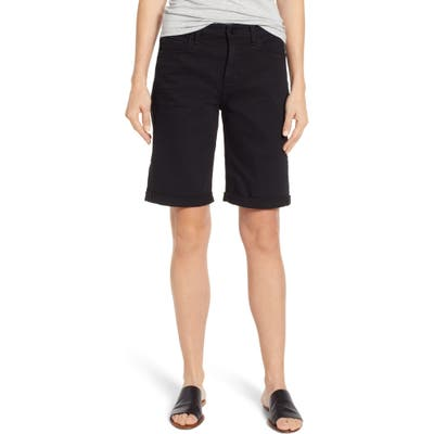 Jen7 By 7 For All Mankind Rolled Cuff Stretch Cotton Bermuda Shorts, Black