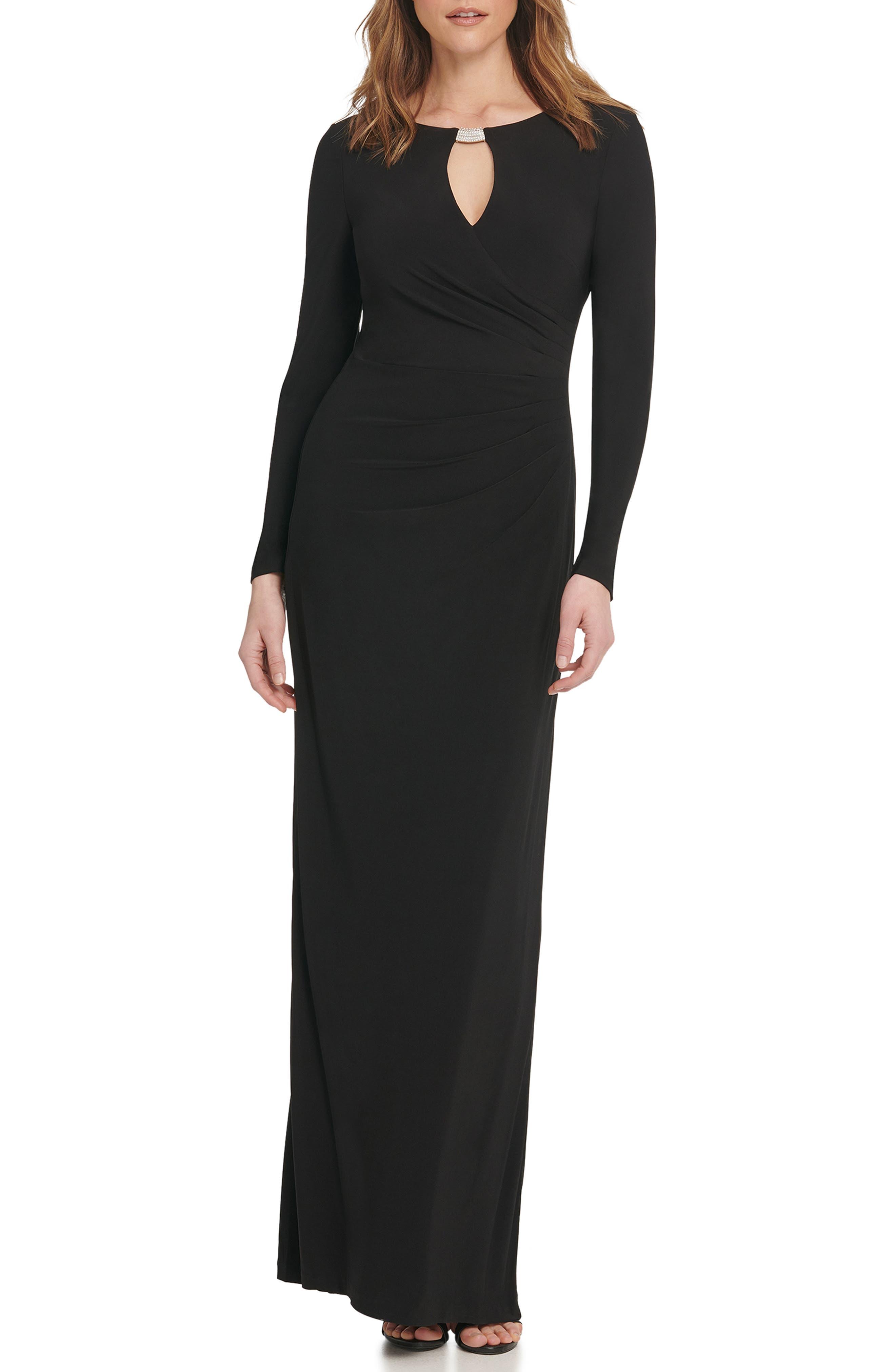 70s Prom, Formal, Evening, Party Dresses Womens Vince Camuto Embellished Long Sleeve Column Gown $158.00 AT vintagedancer.com