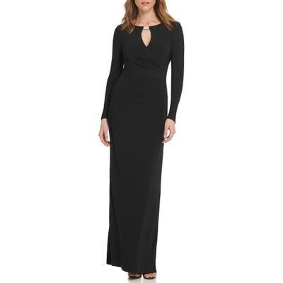 Vince Camuto Embellished Long Sleeve Column Gown, Black
