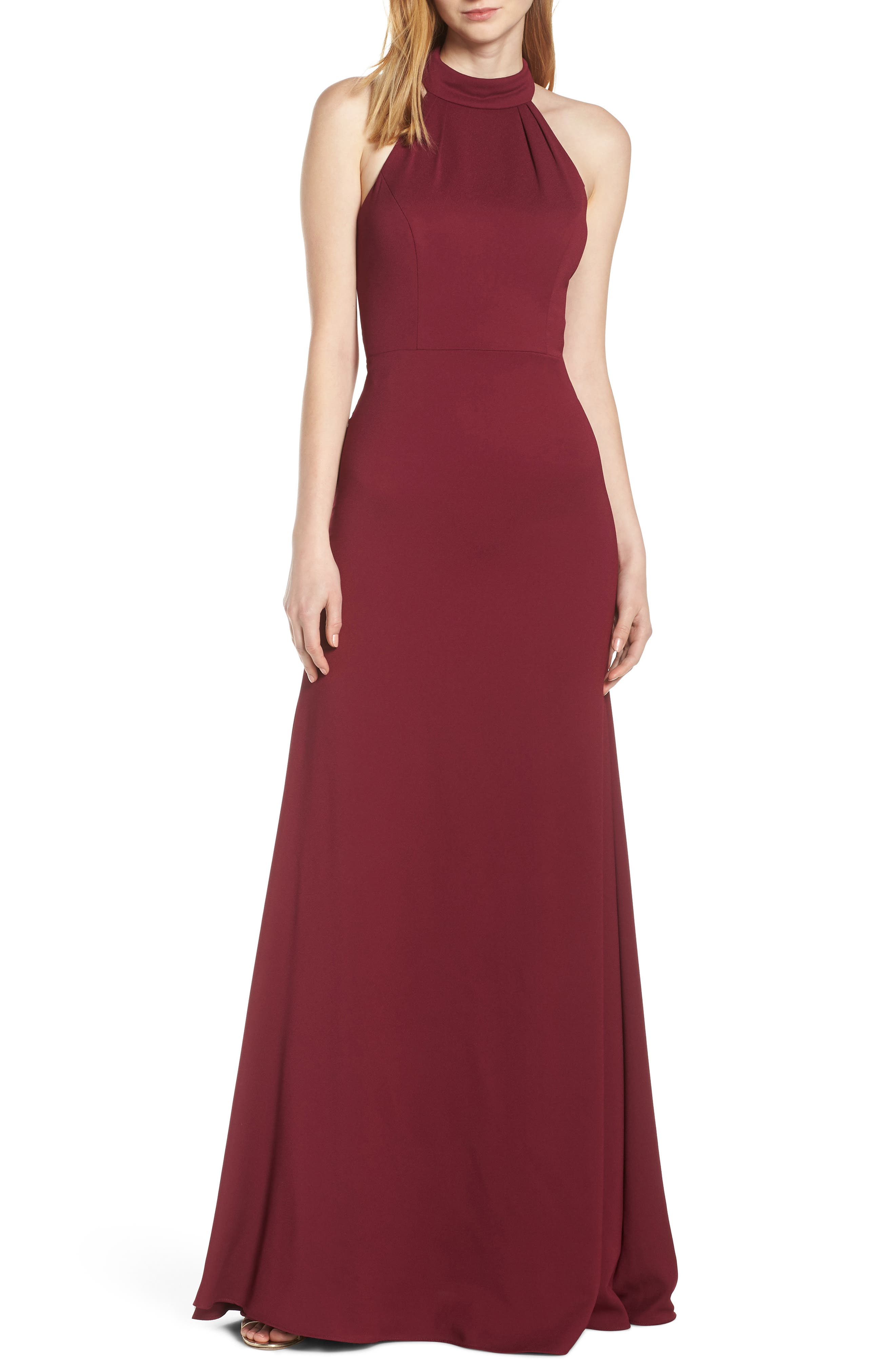 Hayley Paige Occasions Mock Neck Strappy Back Crepe Evening Dress, Burgundy