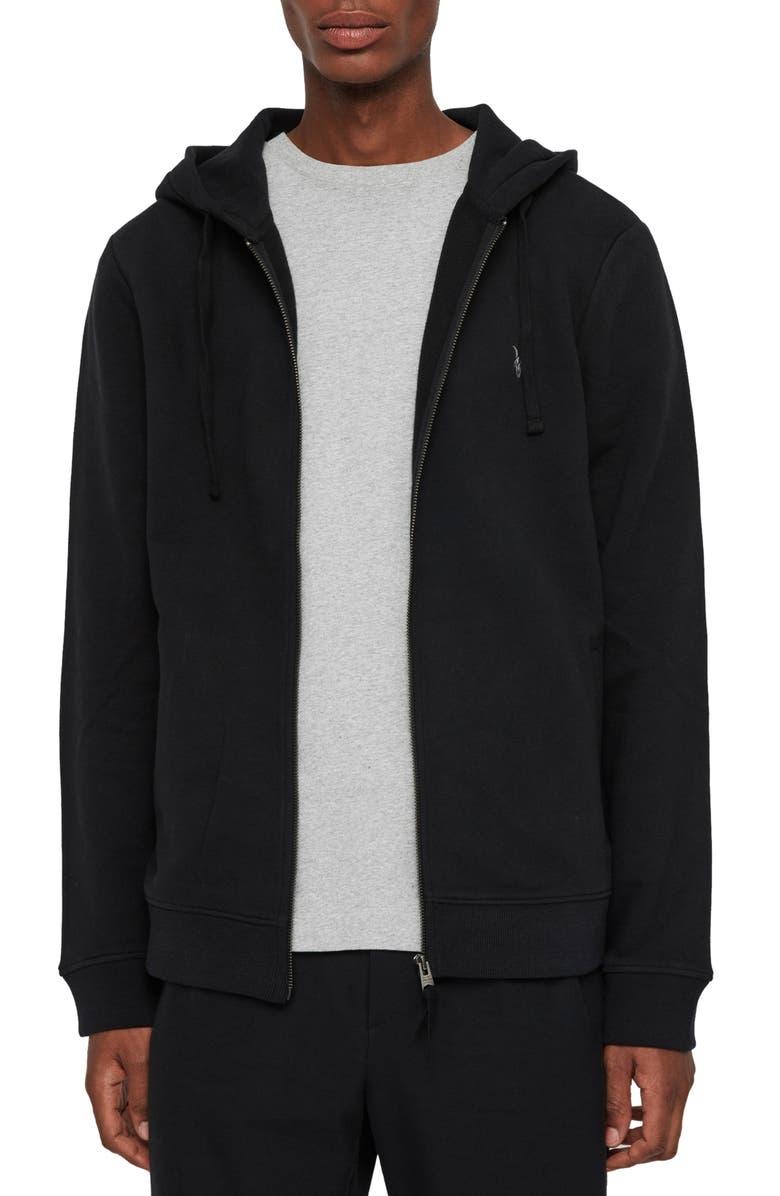 ALLSAINTS Raven Slim Fit Zip Hoodie, Main, color, BLACK